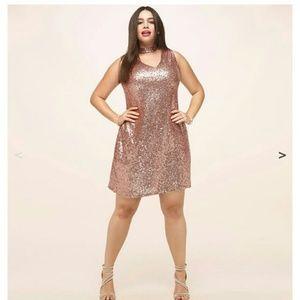 Rosegold Sequin Choker Dress Plus 2X fits like 1X